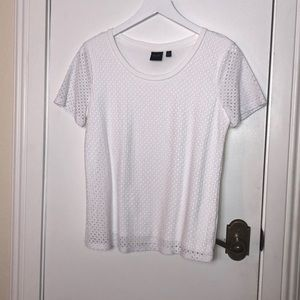 Rafaella white shirt sleeved top size Med.